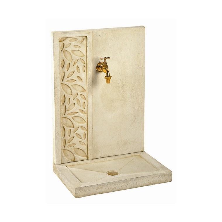 fontaine feuille en pierre reconstituee couleur pierre 70x47x33 cm