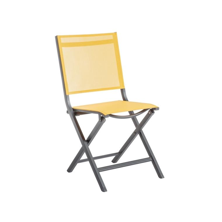 chaise pliante max en aluminium jaune 90 x 45 x 52 cm
