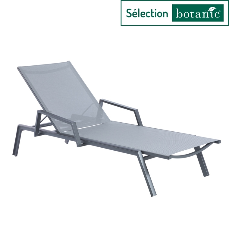 bain de soleil avec accoudoirs gris 206 x 80 x 35 cm