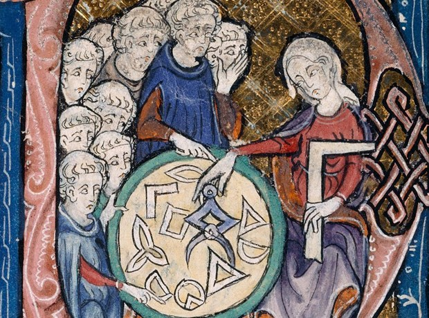 Image: From a translation of Euclid's Elementa, attributed to Adelard of Bath, c. 1309–1316.