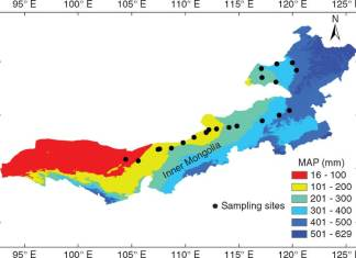 Distribution of sampling sites in the temperate steppe of northern China.