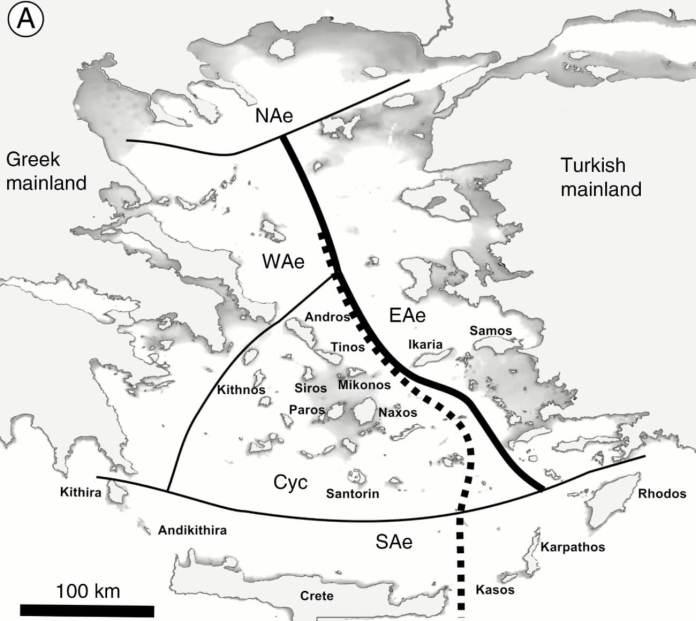 Floristic sub-division of the Aegean region