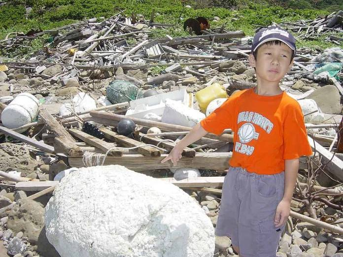 An example of the plastic polluted coast of Japan.