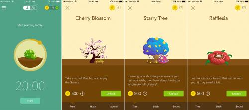 "Digital art of a bush, a cherry  tree, a ""starry tree"", and Rafflesia"