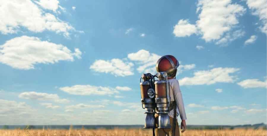 Astronaut in a wheat field