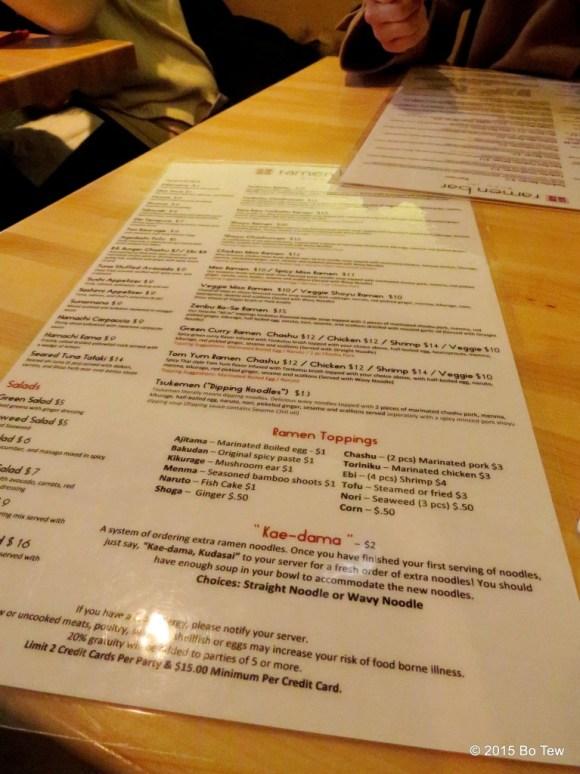 Really long menu @ Ramen Bar.