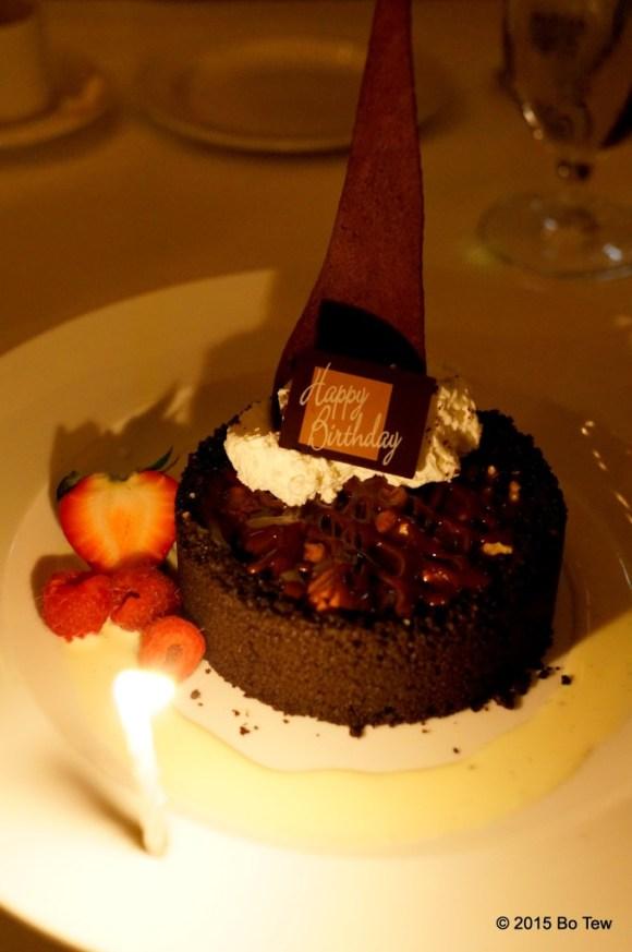 Chocolate turtle pie with crème anglaise