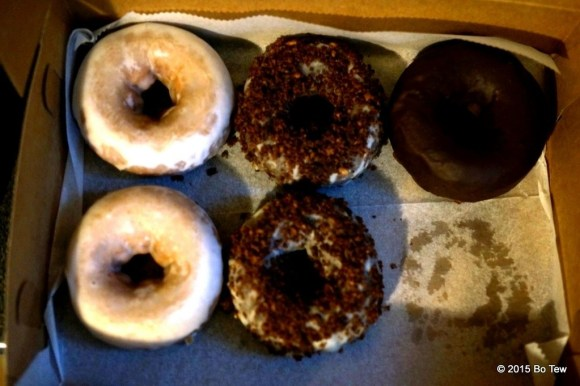 Chocolate Ecclair, Milk and Coffee, Dark Chocolate glazed. Doesn't matter who's who. They all are equally yummy.
