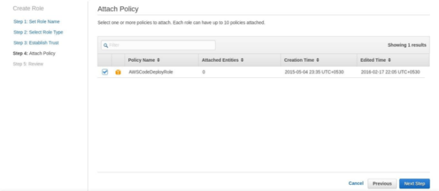 Create a service role CodeDeployServiceRole. Select Role type AWS CodeDeploy. Attach the Policy AWSCodeDeployRole as shown in the below screenshots: