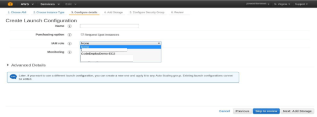 Choose an AMI and select an instance type for it. Attach the IAM instance profile