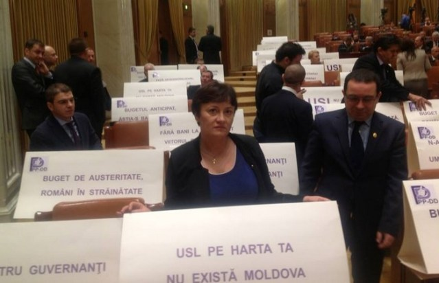 Protest Liliana Minca in Parlament (1)