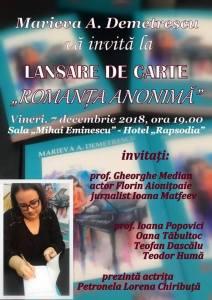 "Romanță anonimă"", stiri, botosani, roman, Marieva A. Demetrescu"