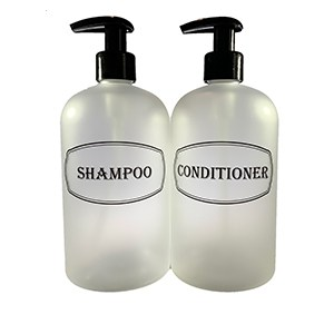 frosted clear bottle set-shampoo, conditioner, wash
