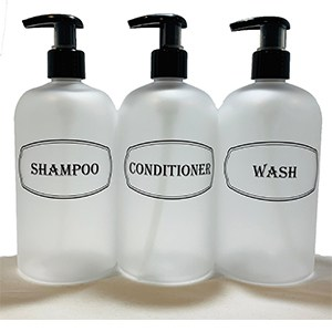 frosted clear shampoo, conditioner, wash set