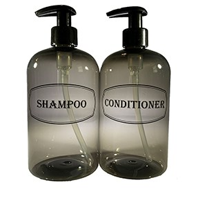 Gray shampoo and conditioner bottle set