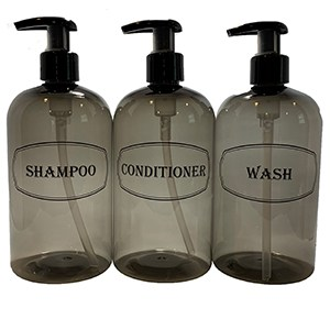 Gray 3 bottle set-shampoo, conditioner, wash