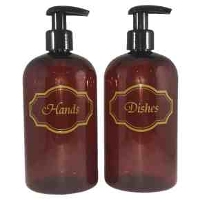 Amber hands and dishes liquid soap bottles w gold print and black pumps