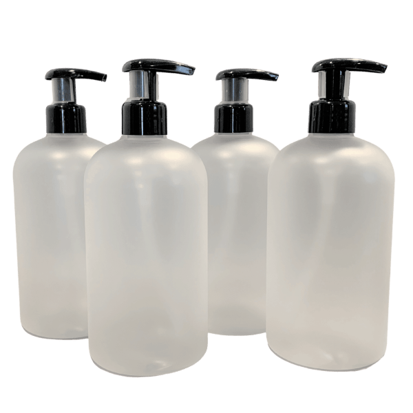 4 Frosted Clear unprinted refillable PET plastic bottles w black lotion pumps
