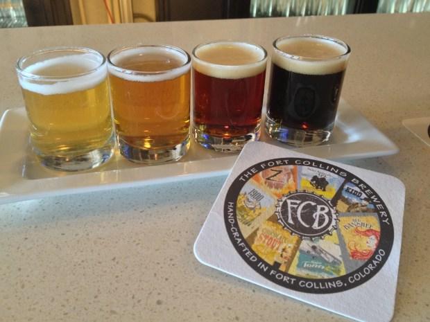 Tasting flight of FCB beers at Gravity 1020