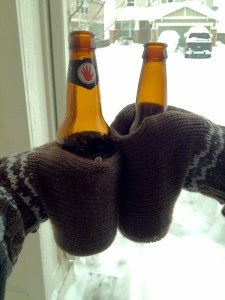 Warm hands, cold beers.  Perfect!