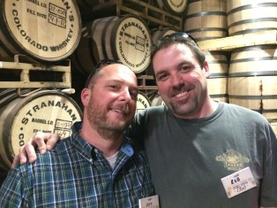 Happy boys in the barrel room