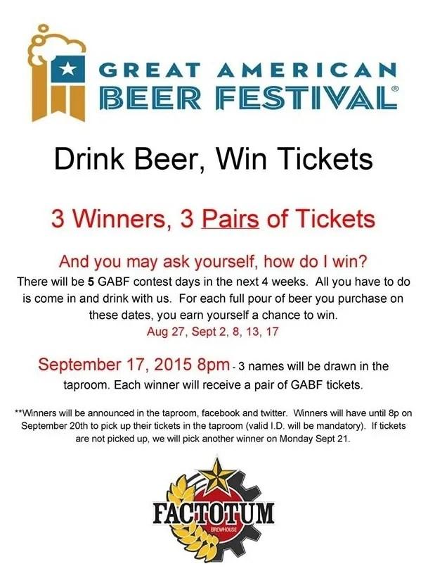 Win GABF Tickets at Factotum Brewhouse | bottlemakesthree.com