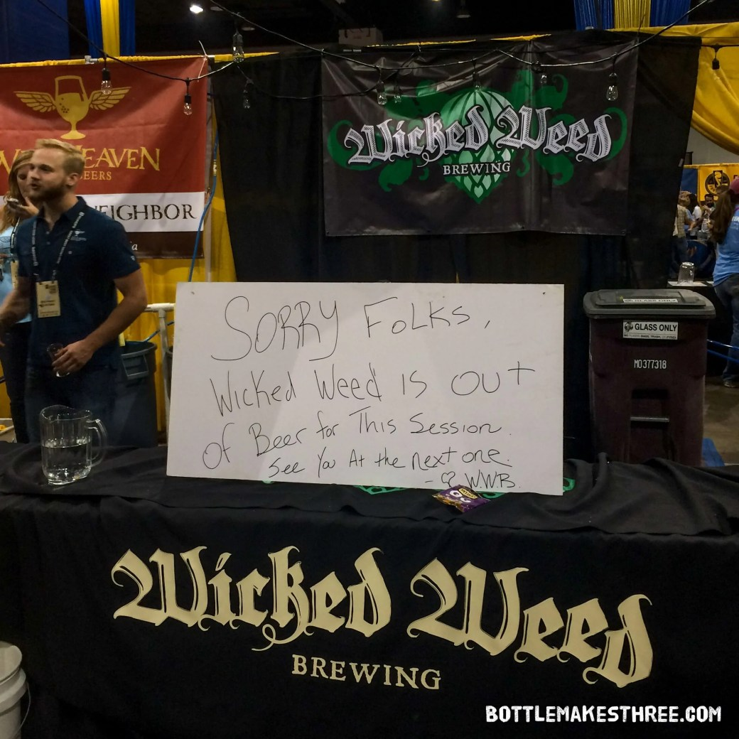 """Wicked Weed Brewing at GABF 2015. From """"The Best of the Fest""""  BottleMakesThree.com"""