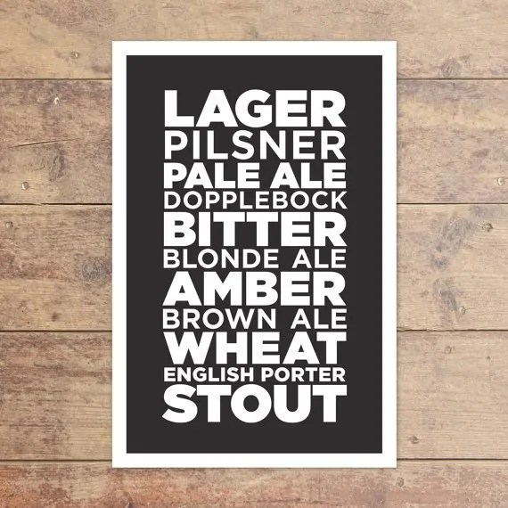 Printable Beer Art from MedianAndMain on Esty. Starts at $15   Super-Last-Minute Gifts for Beer Lovers   BottleMakesThree.com