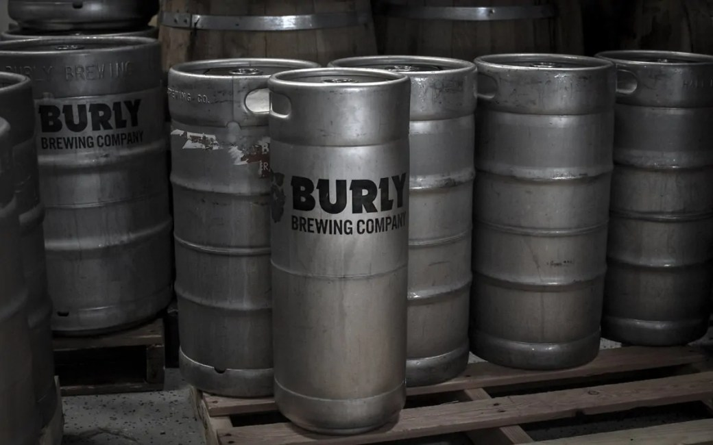 Kegs inside BURLY Brewing Company, a craft brewery in Castle Rock, Colorado