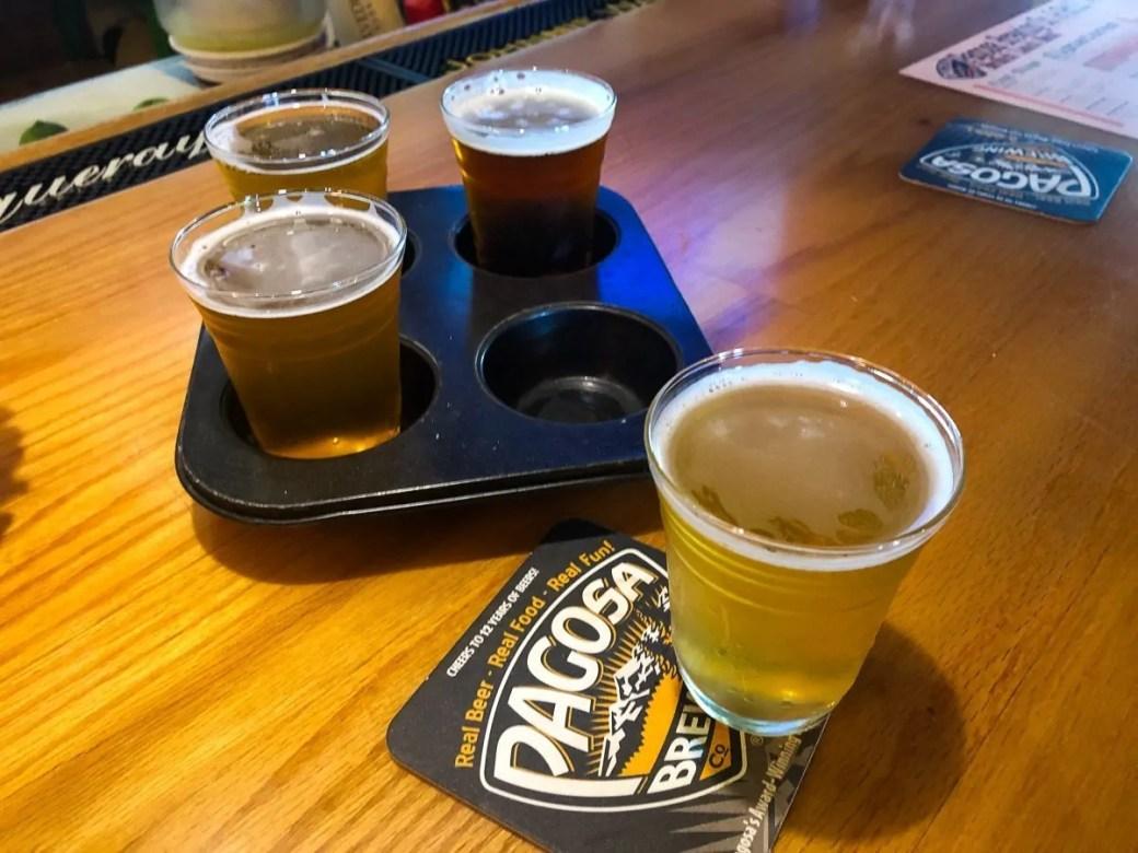 Taster Tray at Pagosa Brewing Company, Pagosa Springs, Colorado