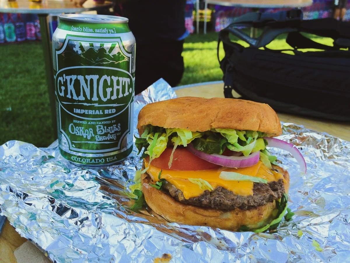 Oskar Blues G'Knight beer and a cheeseburger from Chuburger