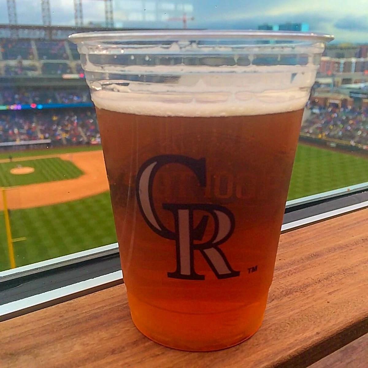 Colorado Rockies Home Opener, enjoying a beer at Coors Field