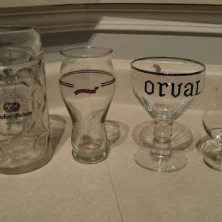 several beer glasses