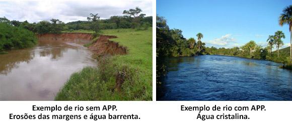 Exemplo de rio com e sem APP