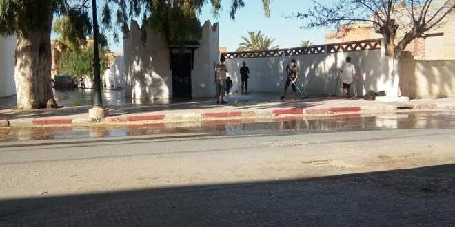 شباب الحي يقومون بحملة نظافة بوسط مدينة بوسعادة
