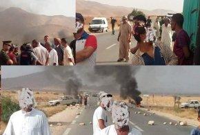 قطع الطريق الوطني رابط بين بن سرور ومحمد بوضياف من طرف الفلاحيين ومطالبتهم بالكهرباء