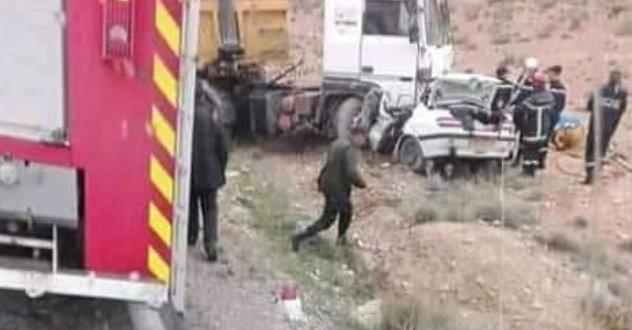 خمسة قتلى  في حادث مرور مميت وقع بالمقطع بين بوسعادة والهامل
