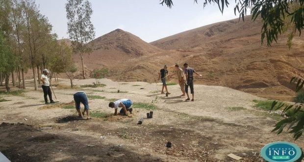 شباب حي لكدات يقومون بنظافة وطلاء أشجار طريق الكورنيش