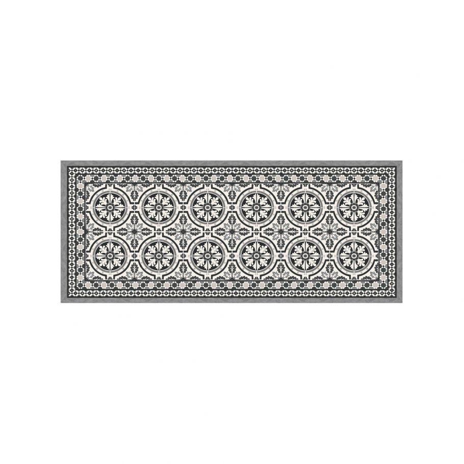 tapis vinyle effet de carreaux ciment moyen format noir