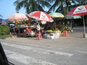 Vendeuse chinoise de fruits exotiques ... sous le chaud soleil de Sanya ...