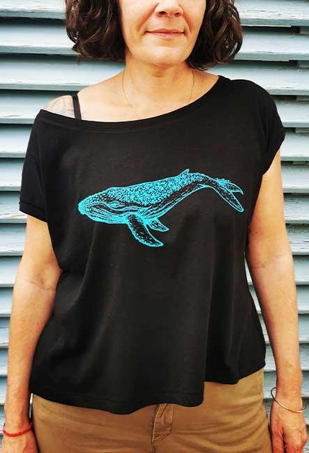 Tee-shirt Baleine - Sérigraphie artisanale - Saint-Leu île de la Réunion - Coton 100% Biologique - Équitable - Dessin original Bouftang