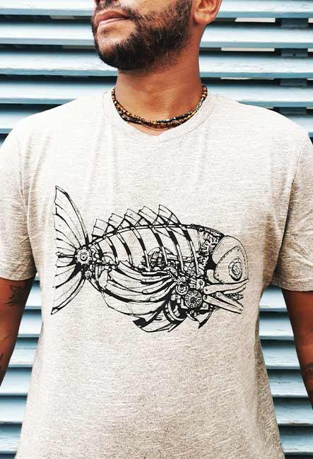Tee-shirt Méka - Sérigraphie artisanale - Saint-Leu île de la Réunion - Coton 100% Biologique - Commerce Équitable - Dessin original Bsr