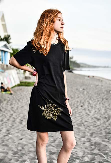 Robe Tee-shirt Rascasse Volante - Sérigraphie artisanale - Saint-Leu île de la Réunion - Coton 100% Biologique - Équitable - Bouftang Art