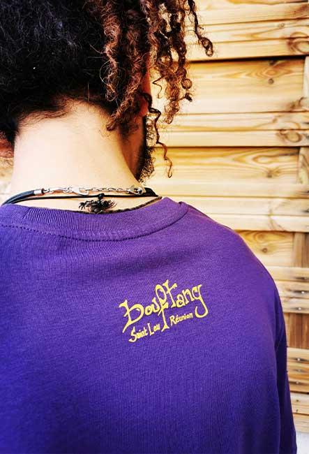 Tee-Shirt Poisson Carré - Sérigraphie artisanale - Saint-Leu île de la Réunion - Coton 100% Biologique - Équitable - Bouftang Art