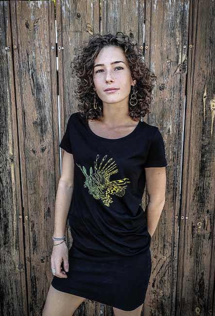Tee-shirt Poisson Lion - Sérigraphie artisanale - Saint-Leu île de la Réunion - Coton 100% Biologique - Équitable - Bouftang Art