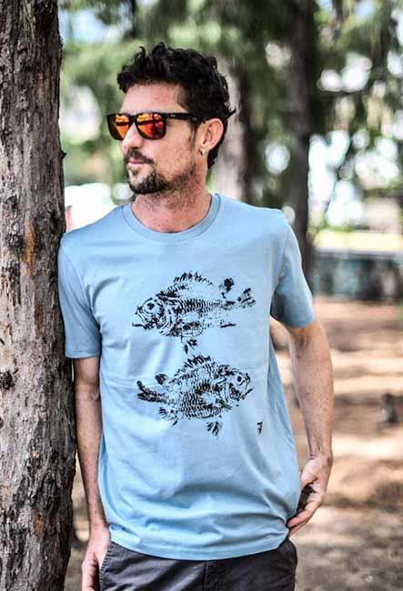 Tee-Shirt Poisson Soldat - Sérigraphie artisanale - Saint-Leu île de la Réunion - Coton 100% Biologique - Équitable - Bouftang Art
