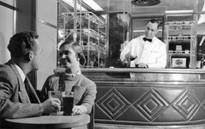 Liquid refreshments were served circa 1948 on the 20th Century Limited except when traveling through dry counties.