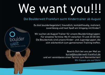 Die Boulderwelt Frankfurt sucht Kindertrainer für Boulderkidsgruppen
