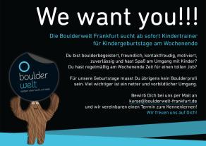 Stellenausschreibung Boulderwelt Frankfurt Trainer für Kindergeburtstage