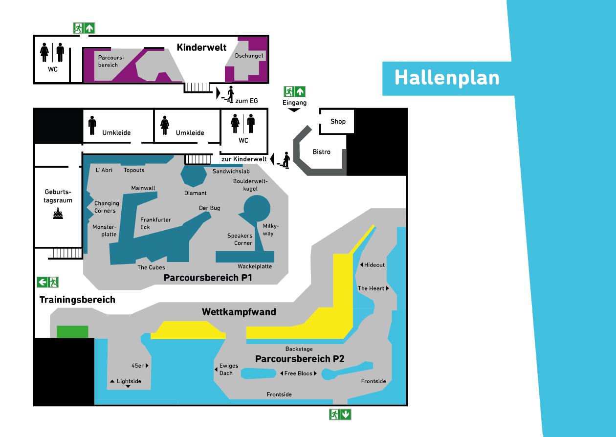 Hallenplan Boulderwelt Frankfurt